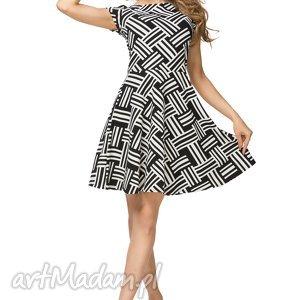 Sukienka rozkloszowana T183, wzór czarno - biały, sukienka, rozkloszowana,