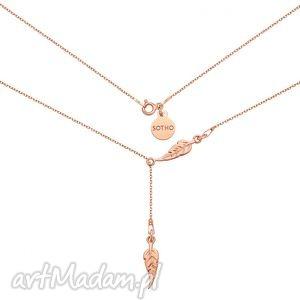 regulowany naszyjnik z różowego złota z piórkami - filigranowy