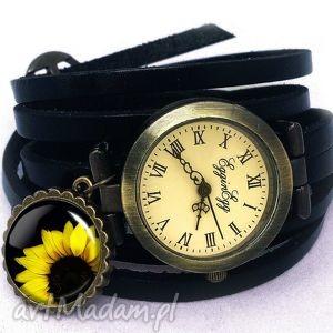 słonecznik - zegarek bransoletka egginegg - czarne zegarki, skórzany