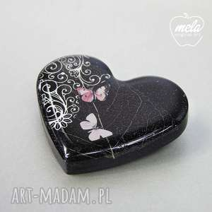 handmade broszki 0360/mela broszka z żywicy serce, motyle