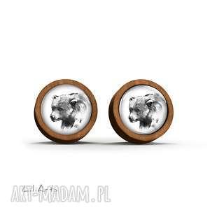 kolczyki drewniane - niedźwiedź sztyfty, kolczyki