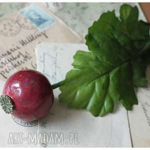 święta, dekoracje czosneczek bordowy, ceramika, kwiat, czosnek