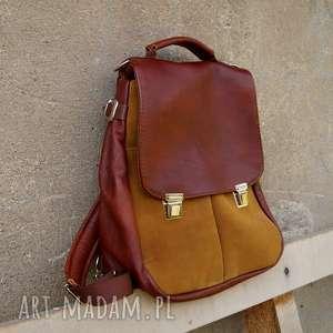 ręcznie wykonane lilith chimera plecak/torba kasztan/rudy
