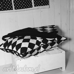 Narzuta/kołderka biało-czarne romby 100x135cm, narzuta, czarno, romby, pikowana