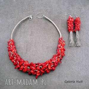 Prezent Koral czerwony i len - komplet biżuterii, koral, naturalny, elegancki