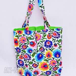 torba na zakupy shopperka biały łowicz, torba, torba-na-zakupy, shopperka, folk