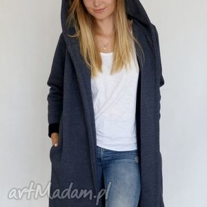 ręcznie zrobione płaszcze l - xl płaszcz z kapturem jeansowy