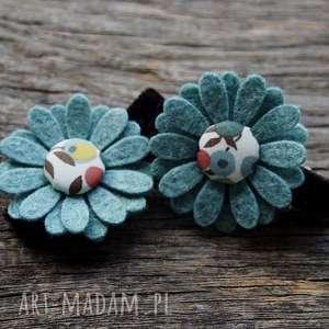 spinki do włosów kwiatki jesień, spinki, filc, kwiatki