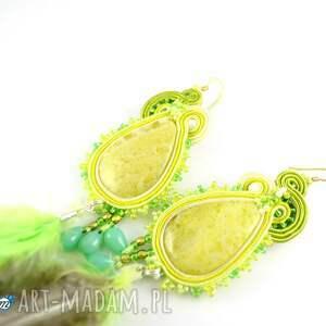 Zielone kolczyki z piórami - HandMade