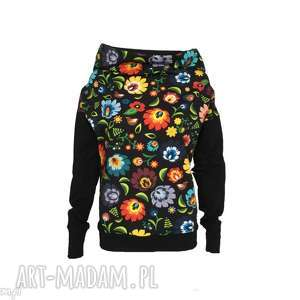 bluzy bluza folkowa czarna, folkowa-bluza, czarna-folkowa-bluza, wzór-łowicki, folk