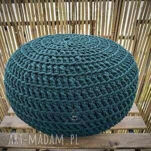 Pufa dekoracyjna 40x20cm handmade szydełko sznurek bawełniany my