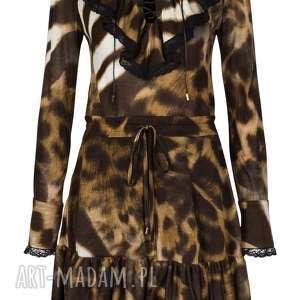 sukienka lucretia - motyw panterka, długi rękaw, motywzwierzęcy, panterka