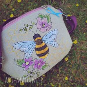 nerka xxl pszczółka, lniana, z haftem, haftowana, torebka