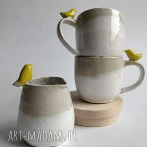 ceramika zestaw dwóch kubków z dzbanuszkiem, prezent, użytkowa, kubek