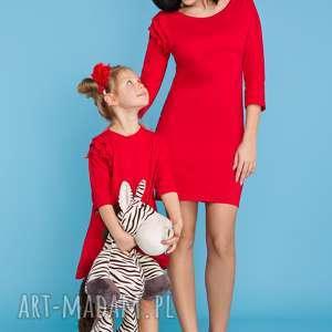 KOMPLET DLA MAMY I CÓRKI, sukienka trzy falbanki , czerwony, sukienka, komplet, mama