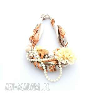 PEACHES & CREAM naszyjnik handmade, naszyjnik, kolia, korale, brzoskwiniowy, jasny
