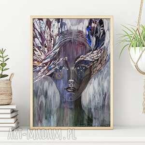 plakat 30x40 cm - uskrzydlona, plakat, wydruk, twarz, postać, kobieta, portret