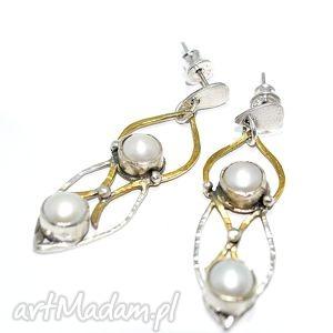 Kolczyki z perłami, długie, kolczyki, srebro, 925, perły, złocone