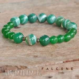 zieleń malachitu - bransoletka, kule, kamienie, fasetowana, agat, jadeit