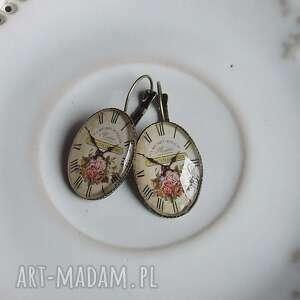 kolczyki owal vintage z grafikami stary zegar, kolczyki, klipsy, vintage, bigle