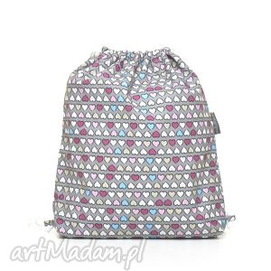 handmade dla dziecka plecak worek przedszkolaka kolorowe serduszka