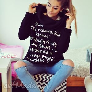 blogerska czarna bluza z napisami komin kaptur s m l, bluza, blogerska, napisy