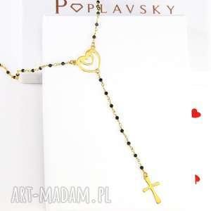 naszyjniki naszyjnik różaniec serce krzyż srebro 925, naszyjnik, różaniec