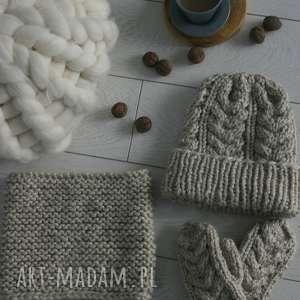 hand-made dodatki zimowy komplet z wełny