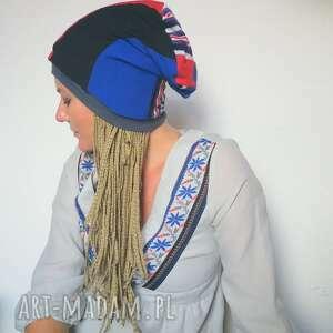 ręcznie zrobione czapki czapka damska smerfetka szyta patchworkowo, uniwersalna