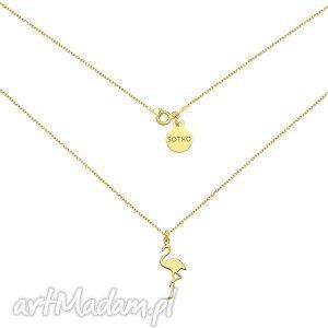 naszyjniki złoty naszyjnik z flamingiem, modny, naszyjnik, srebro, zawieszka