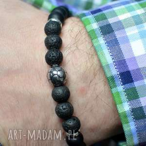 handmade męska bransoletka hombree stone&steel football black