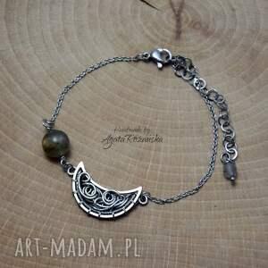 bransoletka księżyc ze złotym labradorytem, półksiężyc, stal chirurgiczna, wire