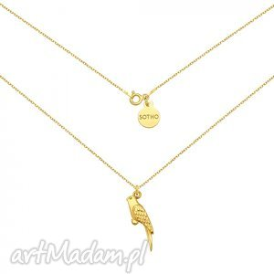 sotho złoty naszyjnik z papugą - minimalistyczny, papuga, modna