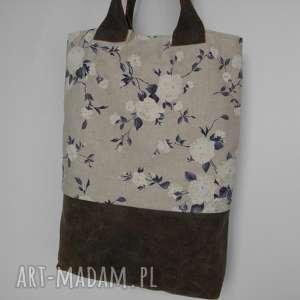hand-made na ramię shopper bag niebieskie róże - skóra i len