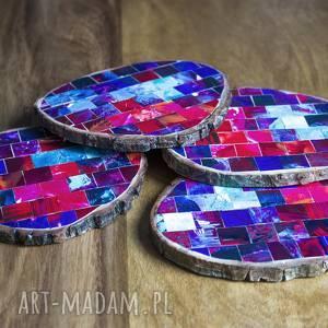 drewniane podkładki - mozaika, drewniane, decoupage, herbata, kawa