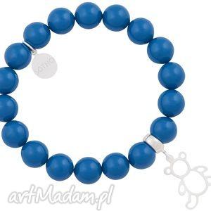 hand made dla dziecka kobaltowa dziecięca bransoletka perły swarovski® elements ze srebrnym misiem