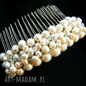 Grzebyk - ozdoba ślubna perły naturalne swarovski, grzebyk, ślub, perły, swarovski