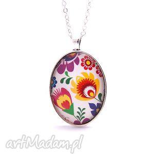 Medalion Folk Kwiaty duży, medalion, wisiorek, folk, folkowy, łowicz, kwiaty