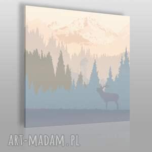 obraz na płótnie - jeleń góry pejzaż w kwadracie 80x80 cm 24002, jeleń