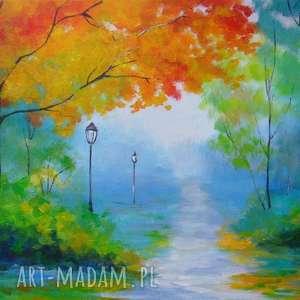 Jesień w parku, jesień, pomarańcz, zieleń, żółty, park, drzewa