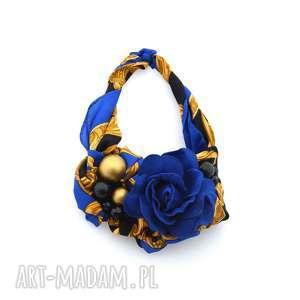 le chic naszyjnik handmade - naszyjnik, niebieski, kobaltowy, szafirowy, kwiat