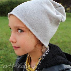 CZAPKA GRUBA DRESOWA DZIECIĘCA BEANIE Z MESZKIEM, dresowa, gruba, melanż, czapka