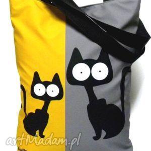 na ramię torbana napę z kotami, torba, koty, pojemna, pakowna