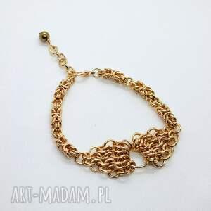 bransoletka chainmaille ze stali szlachetnej - złoty hematyt, bransoleta