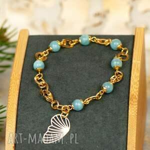 złocona bransoletka z błękitnym jadeitem c892, jadeitem, błękitny