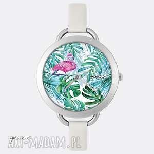 handmade zegarki zegarek - flaming, tropikalny palmy, liście