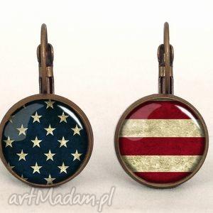 flaga usa - małe kolczyki wiszące egginegg - amerykańska