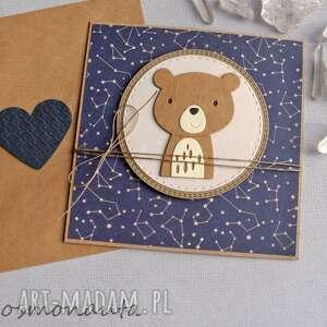 miś kosmonauta - kartka na roczek, narodziny, miś, chrzciny, urodzinki