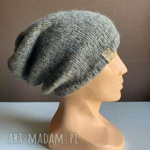 Ręcznie robiona czapka hand made szara alpaka czapki nitkowelove