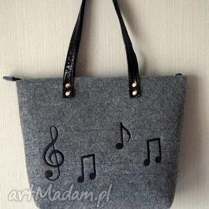 Prezent Filcowa torba - muzyczny haft, torebka, muzyczna, miejska, filcowa